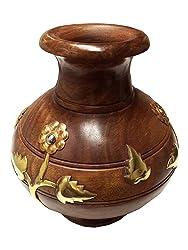 Vase de fleur en bois Lota forme sculpture incrustation, Pots de fleurs en bois, vase à fleurs décoratif Stand pour la maison et le bureau, Vase de fleurs de couleur marron - 7 X 6 pouces, Pâques / fête des mères / cadeau de vendredi