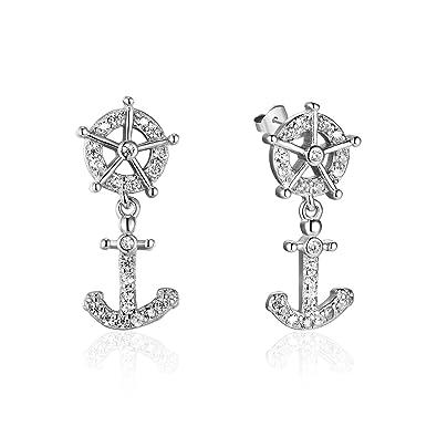 Ohrringe Silberfarbenes 925 Sterlingsilber Steuerrad Und Anker