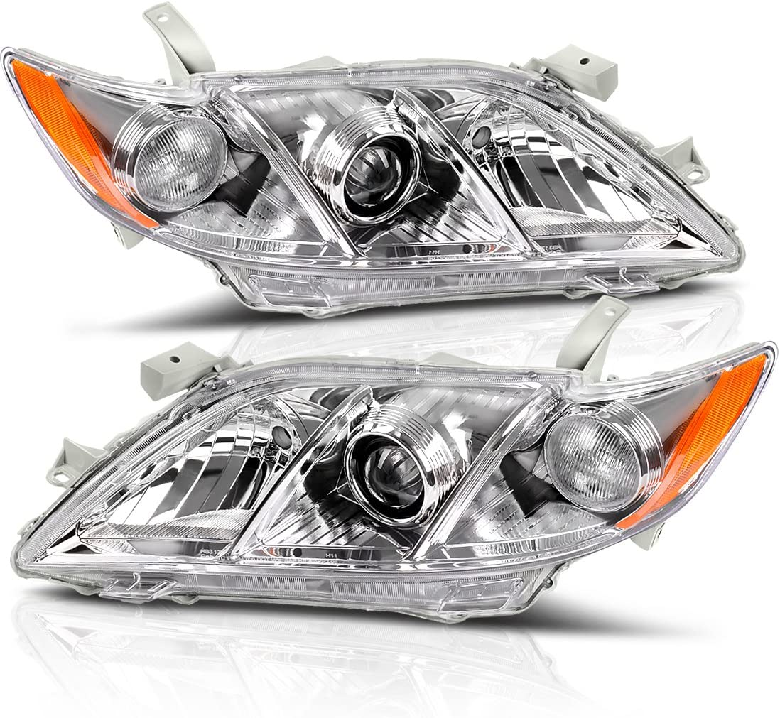 Driver and Passenger Side Headlight Assembly for 2007 2008 2009 Toyota Camry Headlamps Replacement Black Housing with Amber Reflector Clear Lens