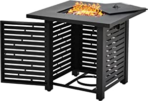 Recaceik Propane Fire Pit Table, Outdoor Companion 27.9 Inch 40,000 BTU Square Gas Fire Pit Table w/Free Lava Rocks and Electronic Ignition Balcony Table Courtyard Garden Terrace Winter