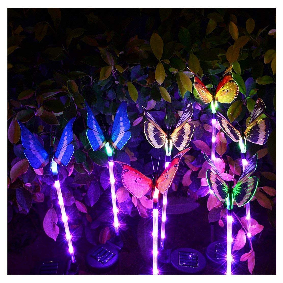 Dolucky Outdoor Butterfly Solar Garden Light Fiber Optic Butterfly Solar Powered Light with Multi-Color Changing LED Light for Garden Patio Flowerbed, Waterproof, 3 Pack
