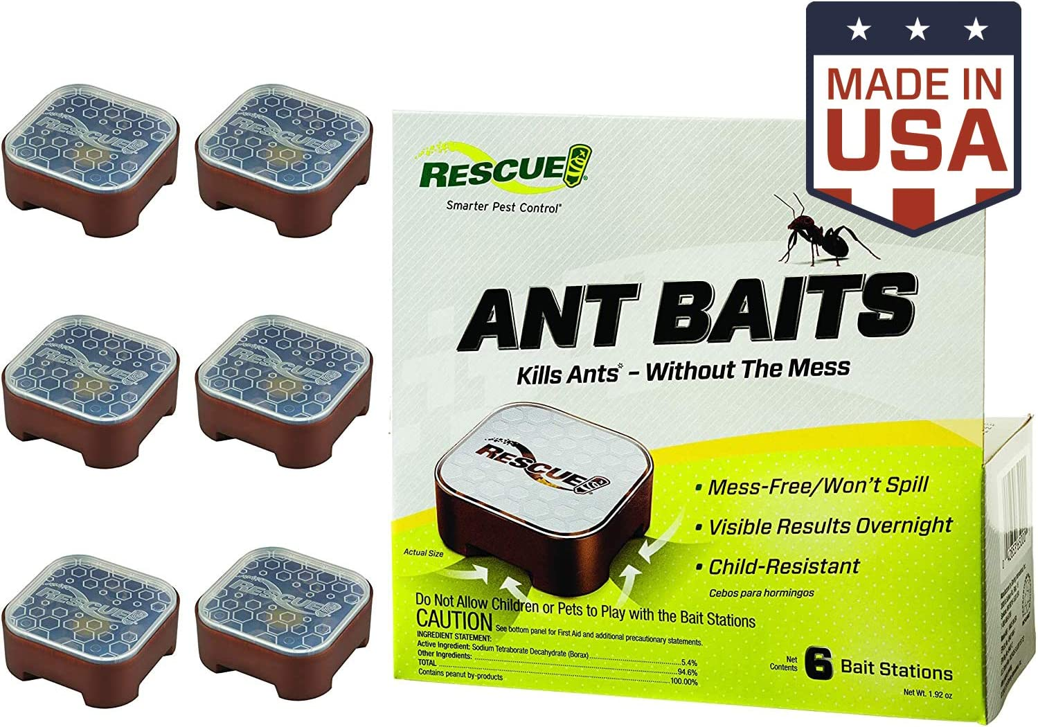 RESCUE! Ant Baits - Ant Killer, Indoor Use - 6 Bait Stations