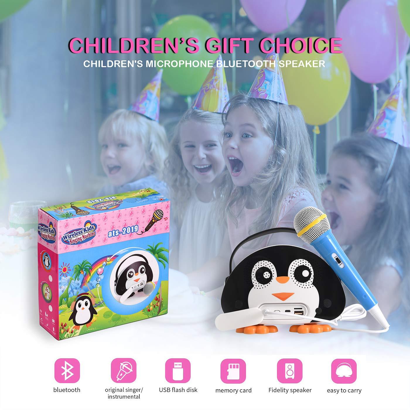 HowQ Outdoor Toys Karaoke Machine , Portable Kids Karaoke Bluetooth Speaker Wireless Cartoon Speaker for Kids for Indoor Toys Travel Activities with Microphone Penguin Karaoke Machine(Black-White) by HowQ (Image #10)