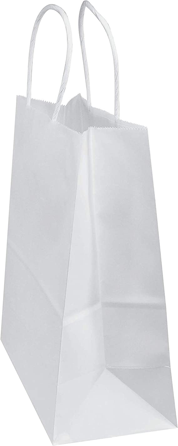 Amazon.com: 100 bolsas de papel kraft blanco de 8 x 4.75 x ...