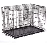 """42"""" Pet Kennel Cat Dog Folding Steel Crate Playpen Wire Metal Cage W/Divider"""