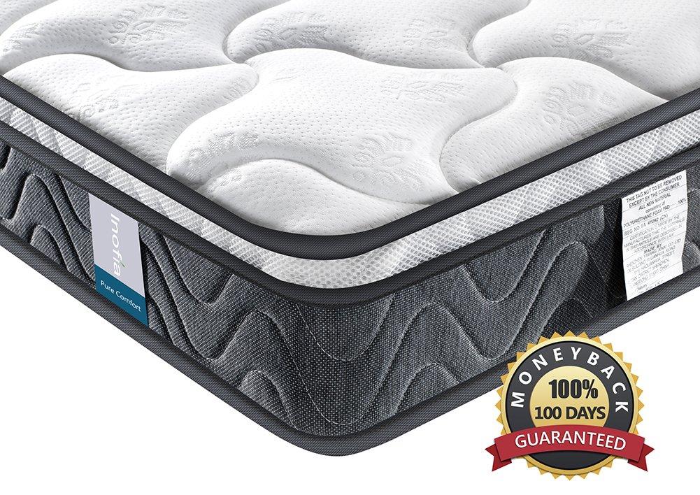 Double Mattress Inofia 8 Inch Hybrid Foam Spring Mattress Pocketed Coil Innerspring Mattress Medium Firm Double Bed Mattress, Queen CAQ