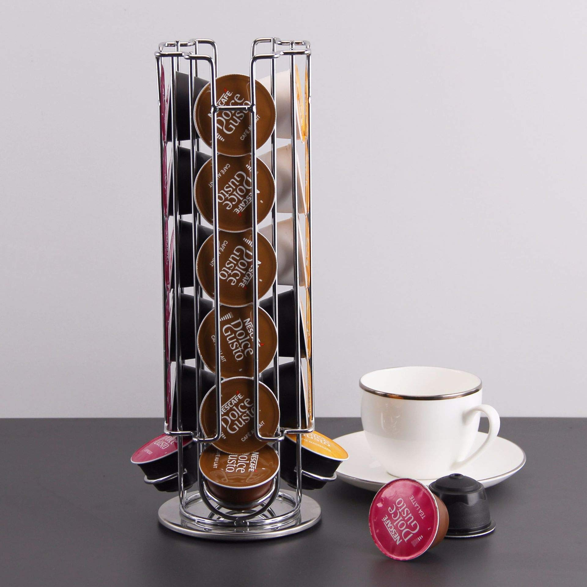 Rotating Coffee Capsule Holder For Nescafe Dolce Gusto coffee capsules,Coffee Holder and Organizer With Non-slip Base,360-degree Rotation(Chrome Silver,4.7''L X 4.7''W X 13''H)