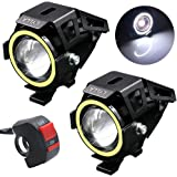 LYLLA Motorcycle LED Headlight CREE U7 with Angel Eyes Ring and Switch (Pack of 2, White)