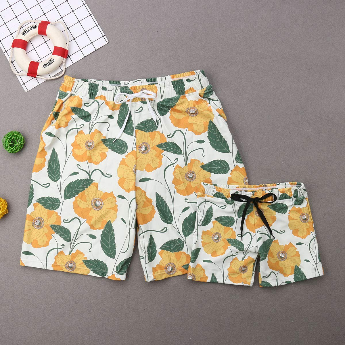 AMILIEe Family Matching Halter Swimwear Mommy Daddy and Me Two Pieces Fruit Floral Print 2019 Bathing Suit