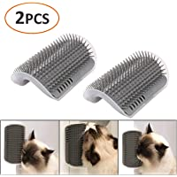 iMapo 2 Pack Cat Self Groomer, Cat Corner Groomer, Wall Corner Massage Comb, Pet Grooming Brush, Perfect Massager Tool for Cats with Long and Short Fur - Grey