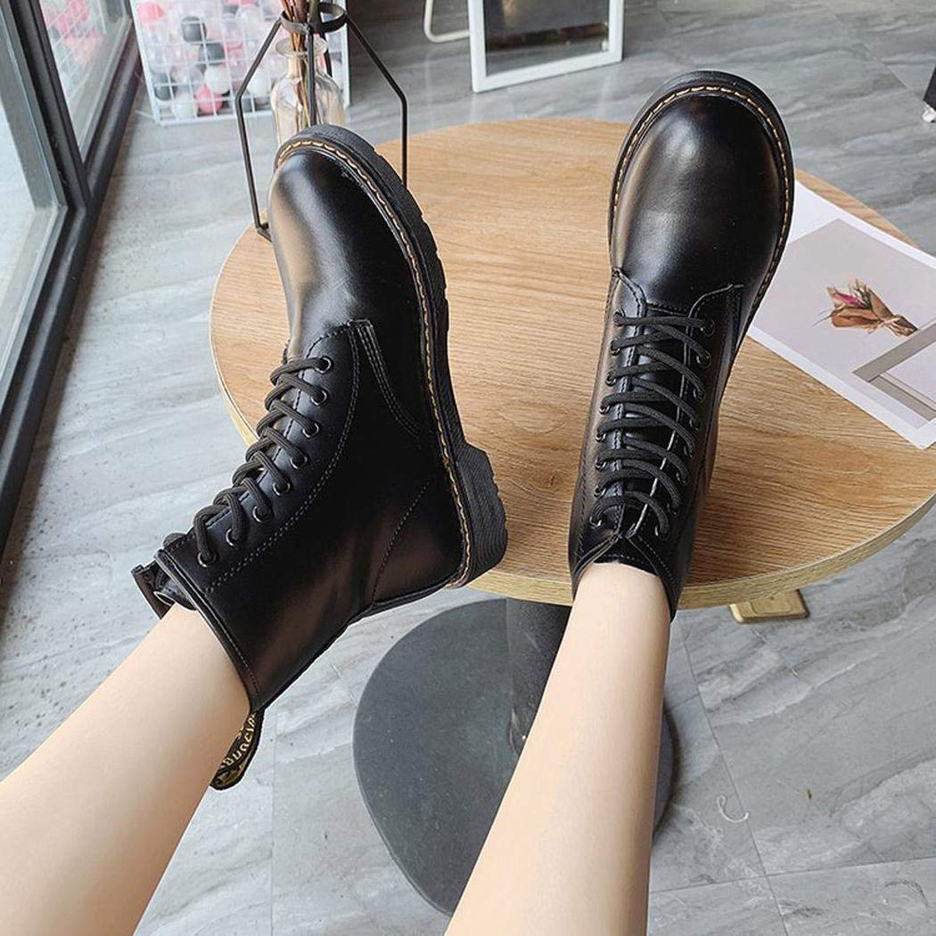 Haonike Botas Altas Martin de Estilo británico Zapatos Planos de Punta Redonda para Mujer Calzado de Invierno Botas