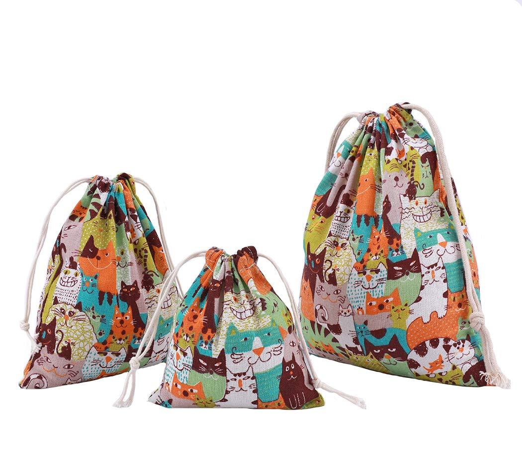 Abaría - 3 unidades bolsa de algodón con cuerdas - Pequeña saco bolsas - Bolsa inserto organizador para bebé ropa juguete pañales - Bolsa de regalo - 25x 30 ...