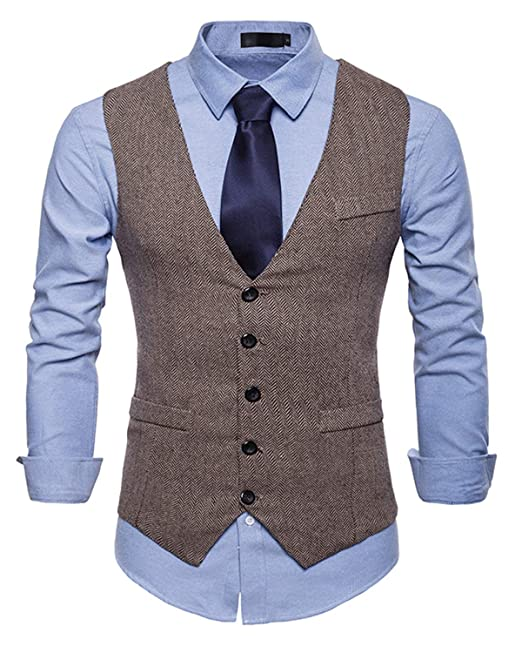 YCUEUST Uomo Tweed Single Breasted Classici Senza Maniche