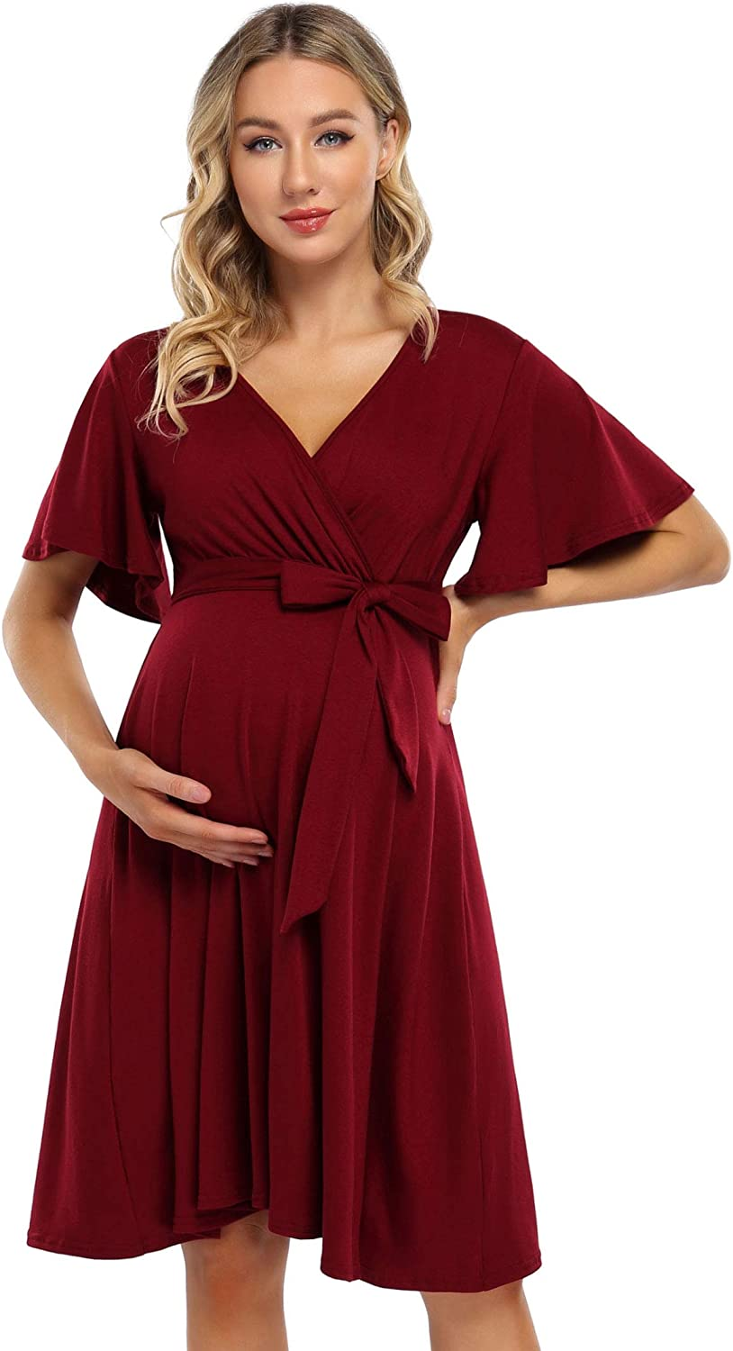 Women/'s Maternity Dress Bell Sleeves Front Bow Belt 3//4 Sleeve Tunic Blouse