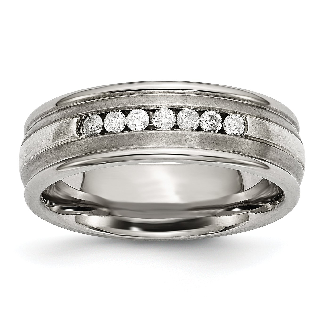 Titanium and 925 Sterling Silver Inlay Diamond Wedding Band Size 13 (0.25ct, H-SI2)