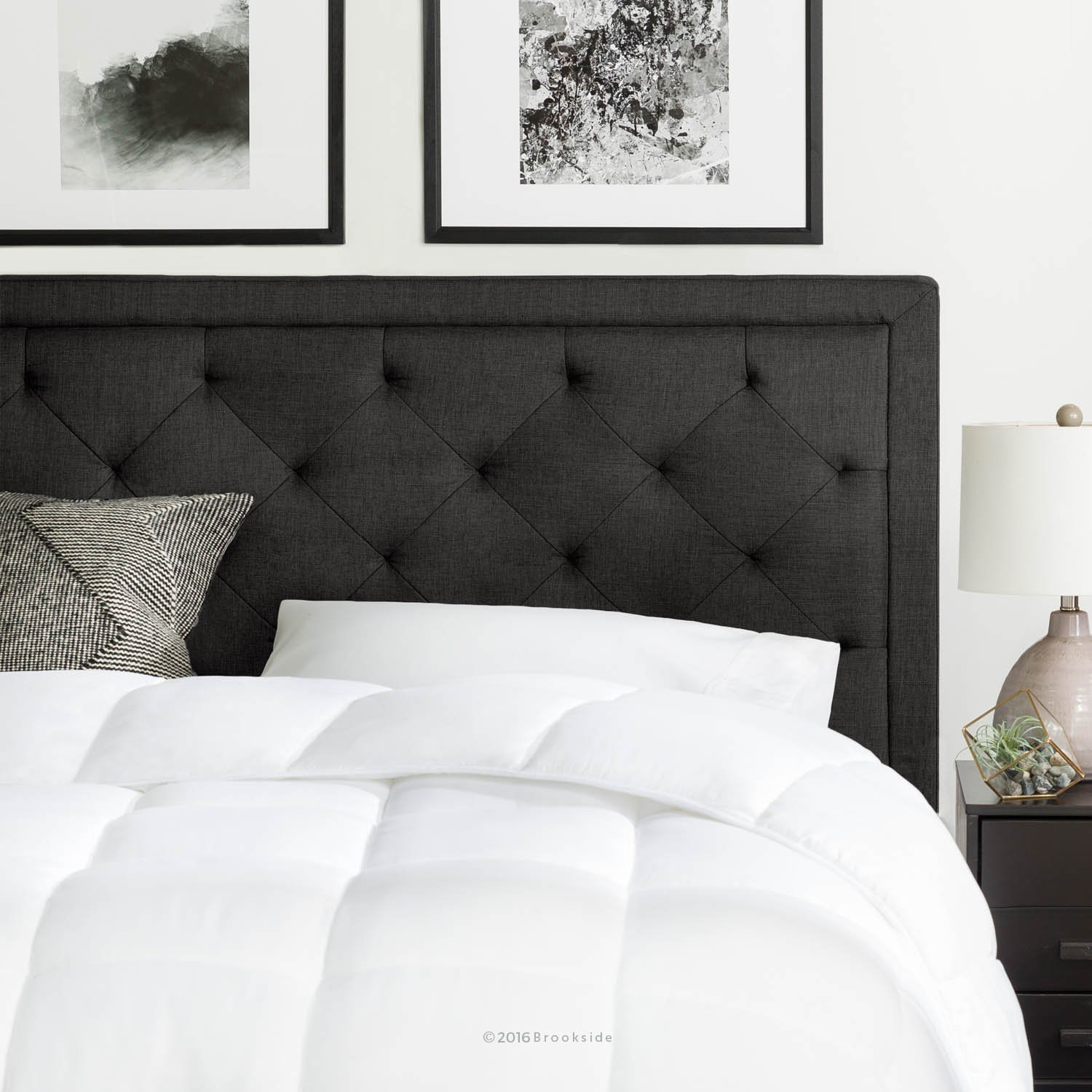 Brookside Upholstered Headboard with Diamond Tufting - King/California King - Charcoal by Brookside