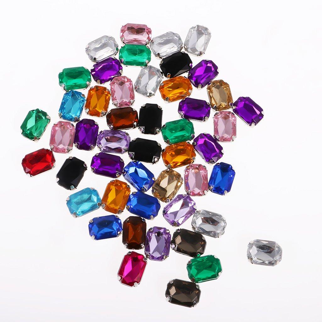 Farbe 2 Schmucksteine zum DIY N/ähen IPOTCH Verschiedene Gr/ö/ßen Acryl-Strass-Steine 50pcs 10 * 14mm