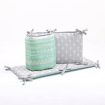 Amazon.com: Verde menta y gris Reversible para bebés Cuna ...