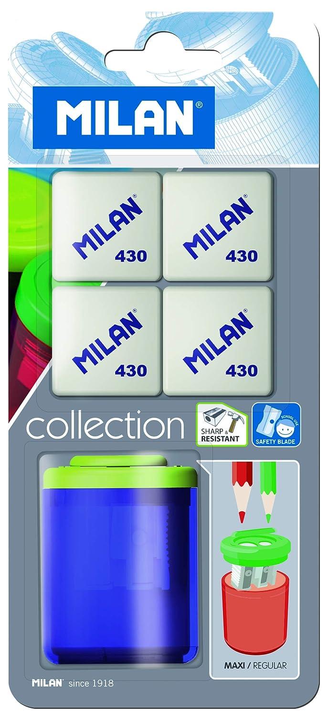 Blister sacapuntas Collection School + 4 gomas de borrar 430 Milan MBYM10273 Artykuly papiernicze