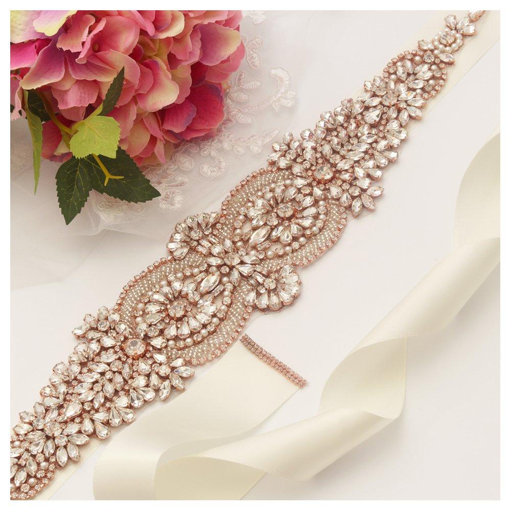 Yanstar Rose Gold Rhinestone Crystal Wedding Bridal Belt Sash with Cream Ivory Ribbon for Prom Dress