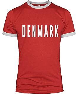 bd16261ff Denmark Text Slogan Ringer T Shirt Football Retro Style Soccer World Cup Men  L254