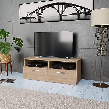 UnfadeMemory Mueble para TV,Mesa para TV,Mesa Baja para Salón Dormitorio,con 2 Estantes y 2 Armarios,Estilo Moderno,Aglomerado 95x35x36cm (Roble): Amazon.es: Hogar