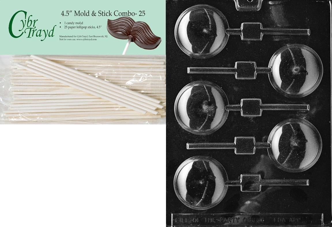 Cybrtrayd 45St25-M028 Round Lolly Miscellaneous Chocolate Candy Mold with 25-Pack 4.5-Inch Lollipop Sticks