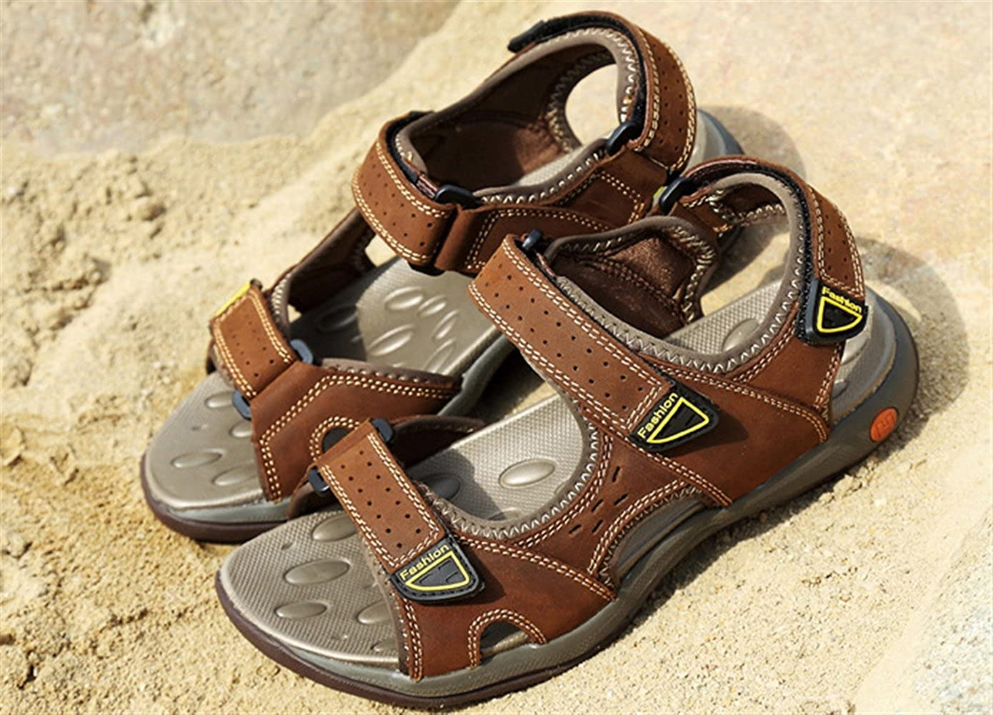 Liveinu Mens Sandals Outdoor Leather Open-Toe Sandals Non-Slip Sports Water Sandal Shoes