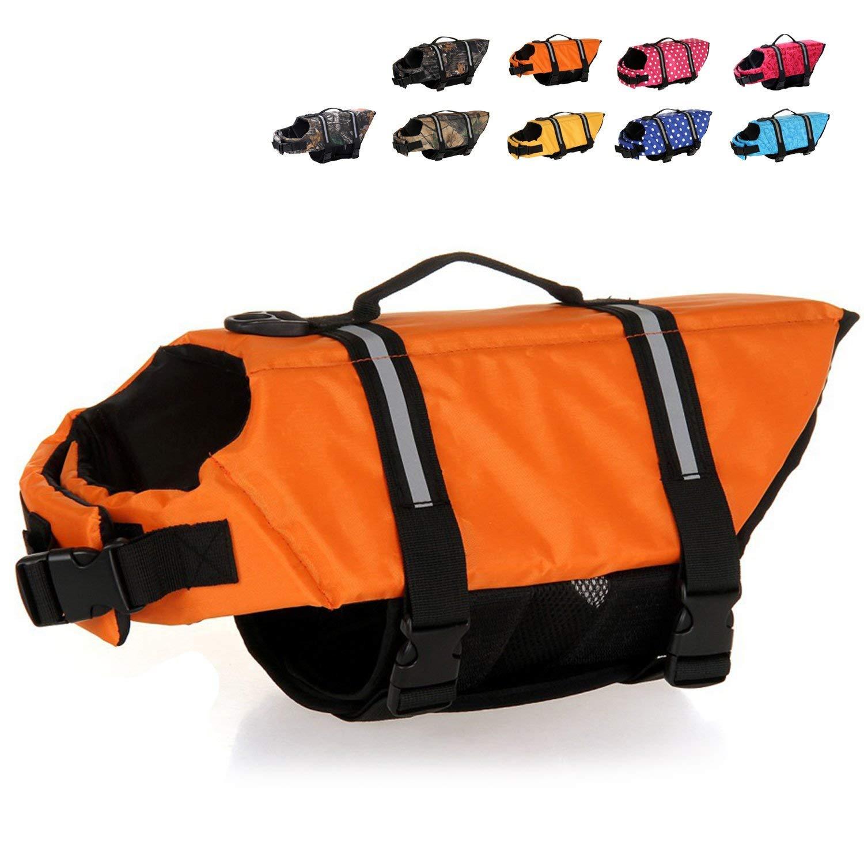 HAOCOO Dog Life Jacket Vest Saver Safety Swimsuit Preserver with Reflective Stripes/Adjustable Belt Dogs?Orange,XXL by HAOCOO