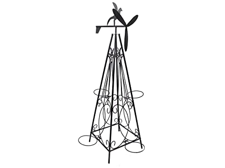 Amazon Com Indian Handicrafts Iron Rooster Windmill With 6 Planter