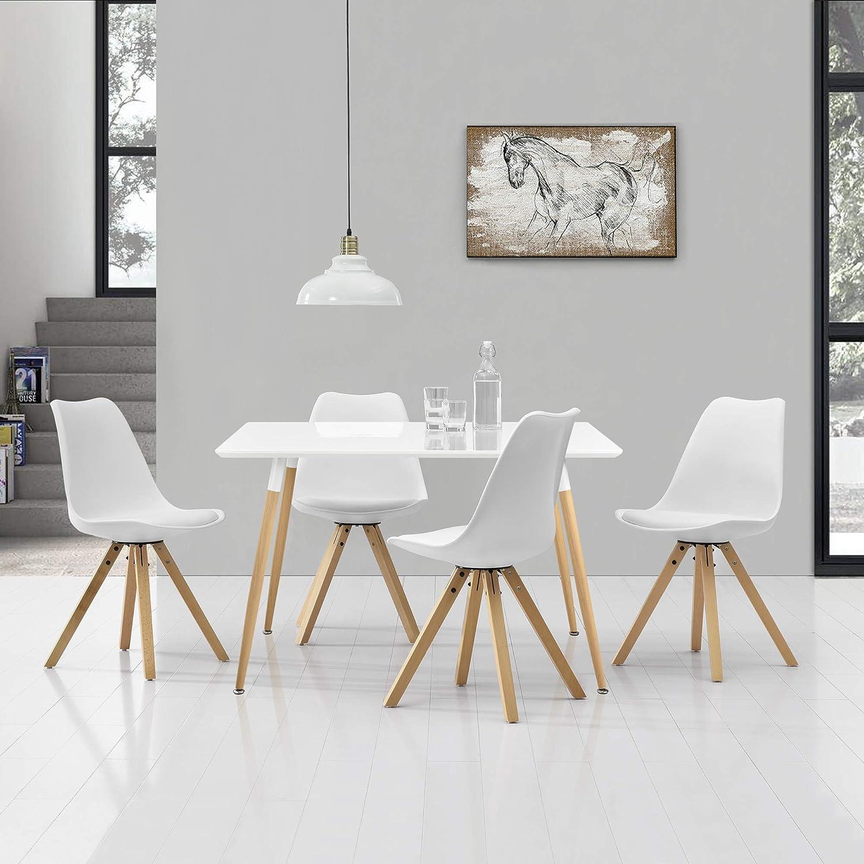 en.casa] Tavolo da pranzo con 4 sedie bianche imbottite