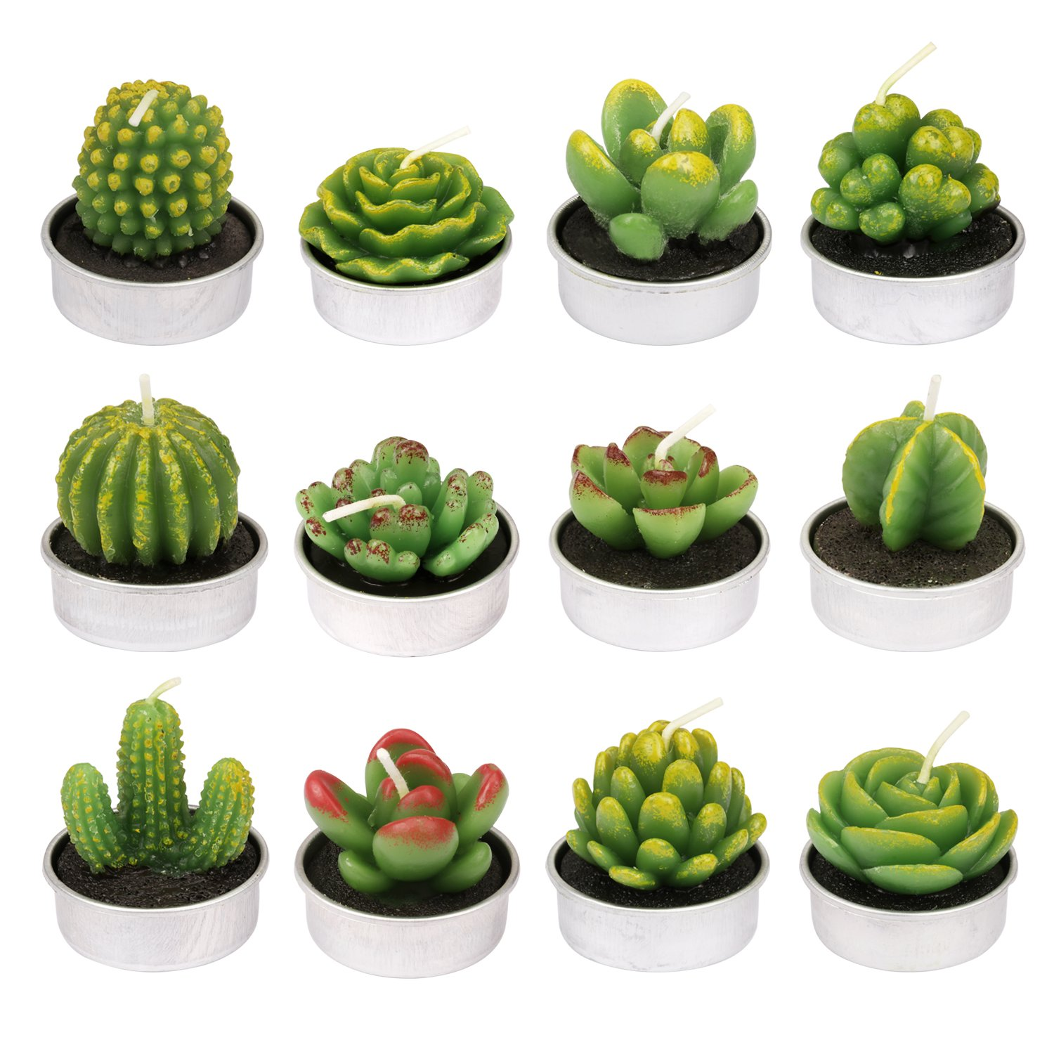 Whavel Cactus Tealight Candles 12 Pcs Handmade Tealight Candles Cactus Candles for Party Wedding Spa Home Decoration Candle Light Dinner Gifts (Model 3) by Whavel