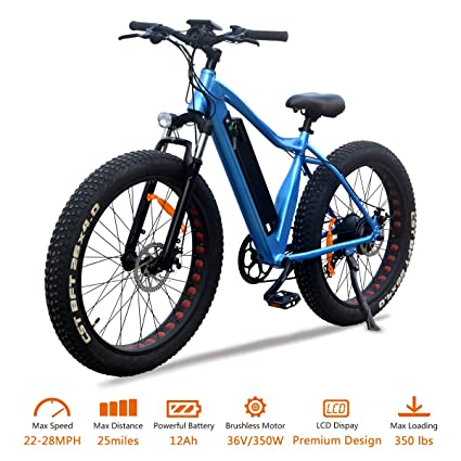 VTUVIA 350W Electric Bike with 36V 12Ah Removable Lithium-Ion Battery 26