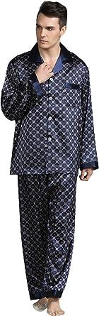YAOMEI Pijamas para Hombre Satén Largo, Hombre Parejas ...