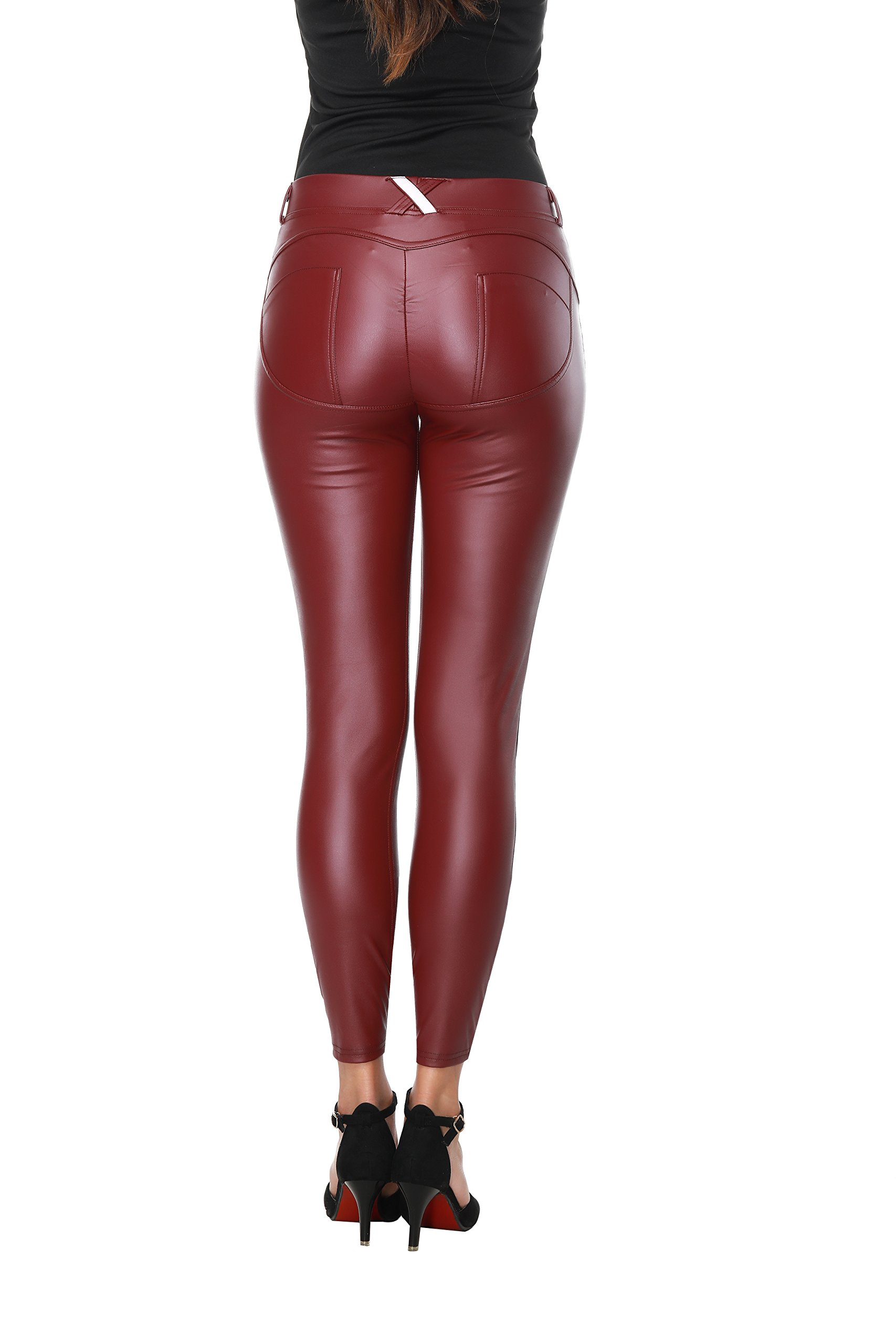 Faux Leather PU Elastic Shaping Hip Push Up Pants Black Sexy Leggings for Women ((Size 2-4)Medium, Wine Red)