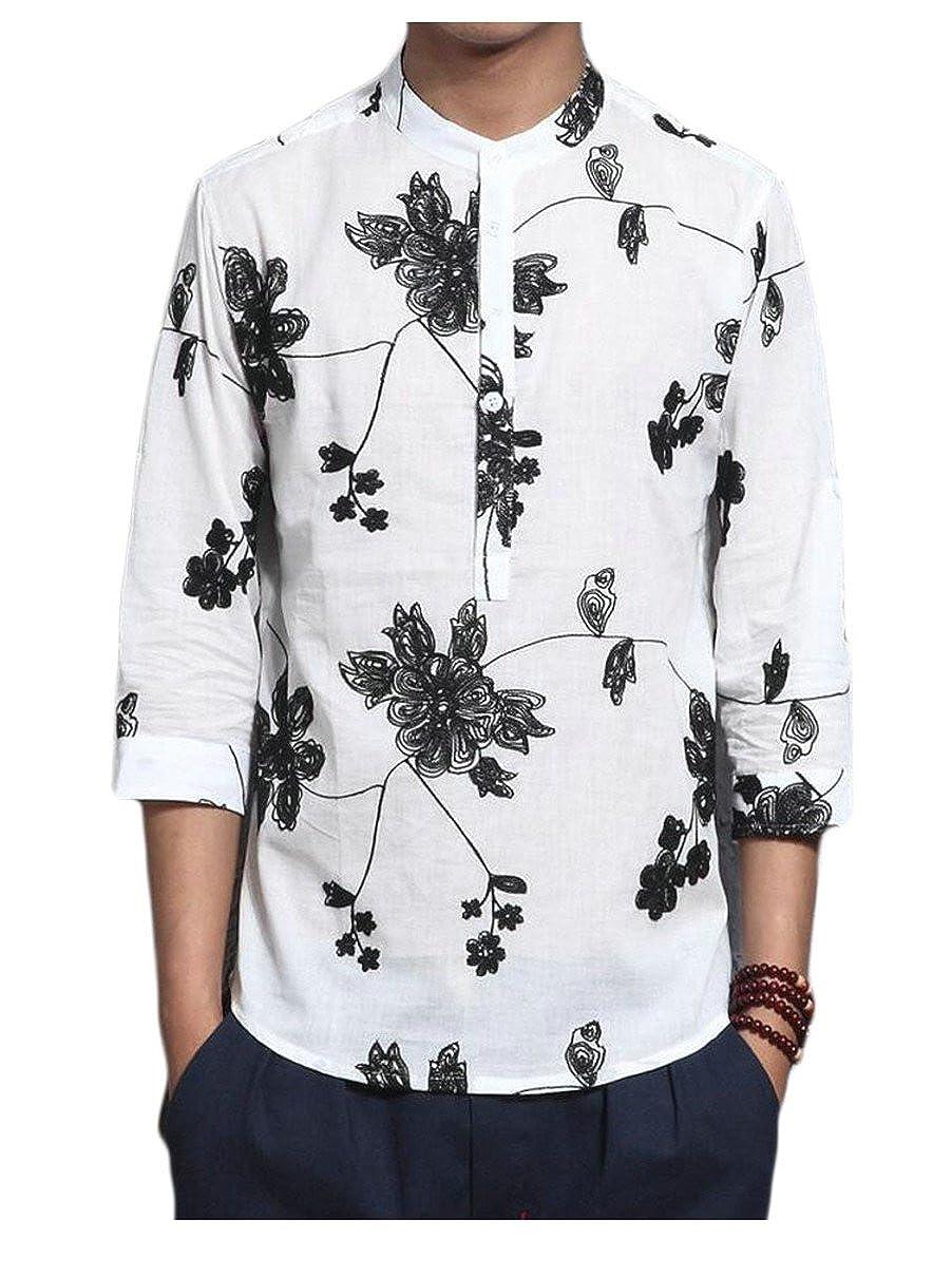 Qiangjinjiu Mens Long Sleeved Stand Up Collar Fashional Long Sleeved Slim Fitted Dresses Shirts