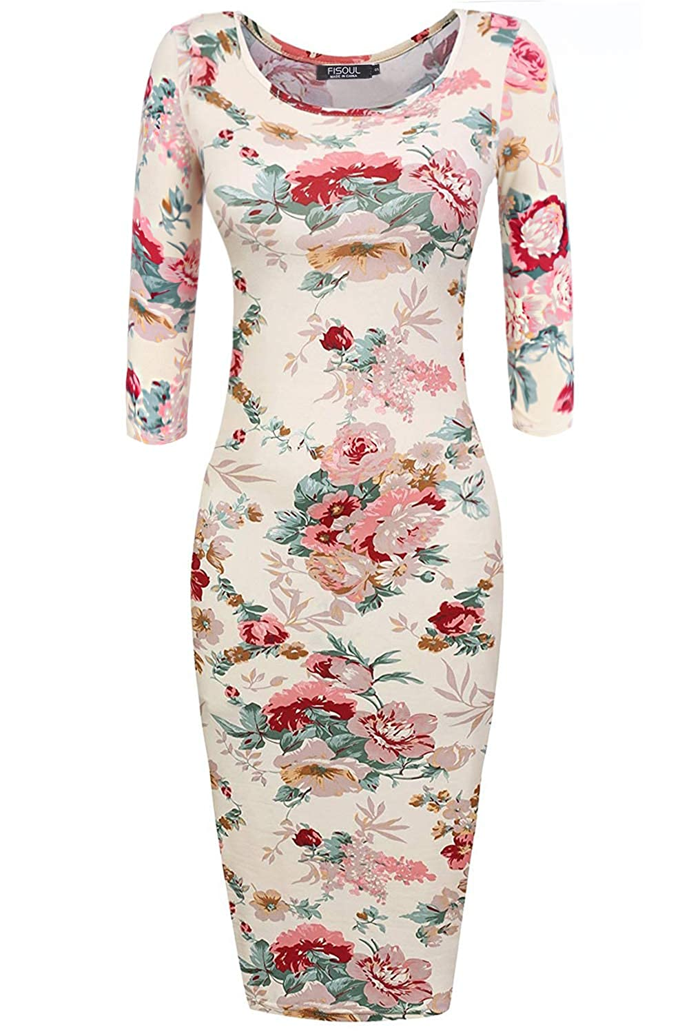 Beige FISOUL Womens Floral Bodycon Dress 3 4 Short Sleeve Scoop Neck Sweetheart Midi Pencil Slim Fitted Dress
