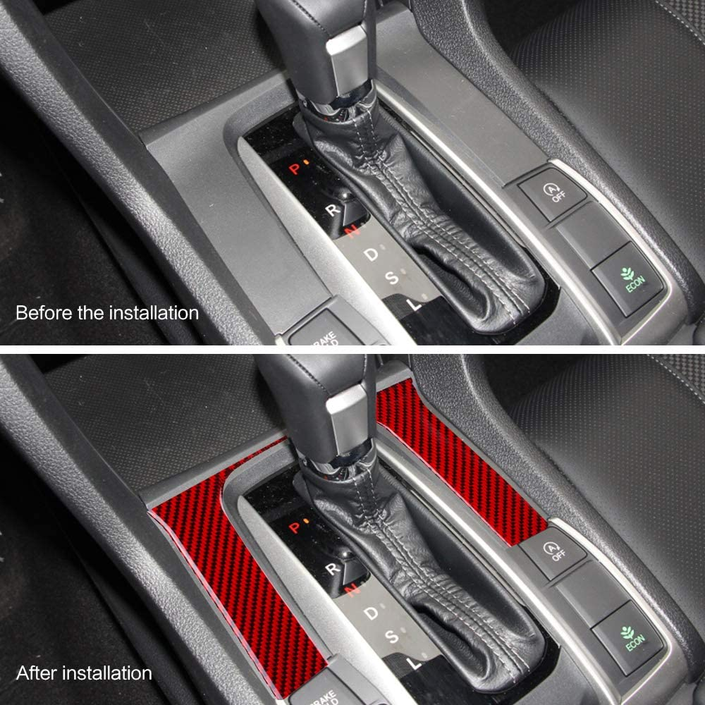 ramuel Compatible with Carbon Fiber Special Interior Center Console Gear Box Shift Panel Cover Trim for Honda Civic 2016 2017 2018 2019 2020 Red