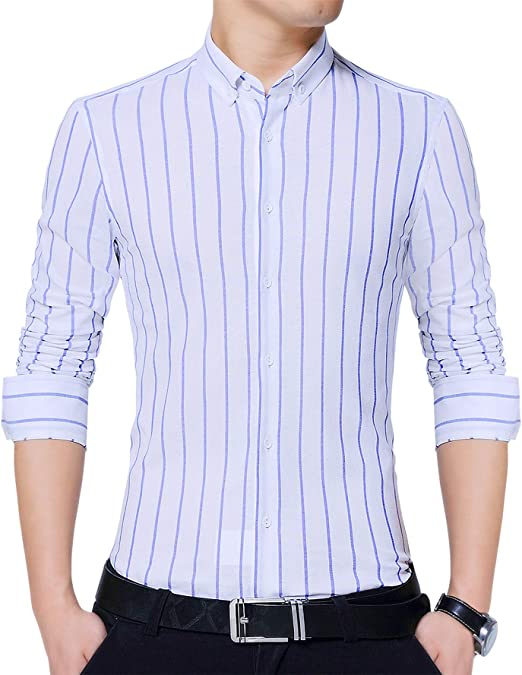 Mens Business Long Sleeve Vertical Striped Slim Fit Dress Shirts Tops