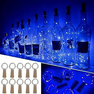 Ariceleo Wine Bottle Lights with Cork, 10 Packs Mini Battery Operated Cork Led Lights for Wine Bottle, Copper Fairy String Lights for Glass Bottle Decor, Christmas, Bar, Bottle Top Stopper (Blue)