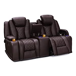 Seatcraft Europa Home Theater Seating Power Recline Leather Gel Sofa Adjustable Powered Headrests, Cup Holders, Power Charging Station, Hidden in-Arm Storage (Loveseat, Brown)