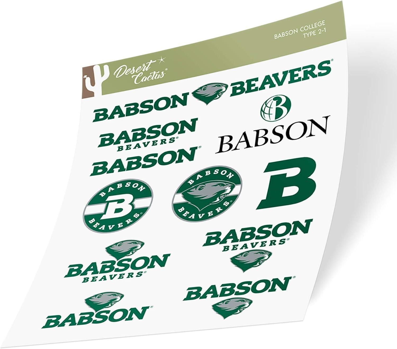 Babson College Beavers NCAA Sticker Vinyl Decal Laptop Water Bottle Car Scrapbook (Type 2 Sheet)