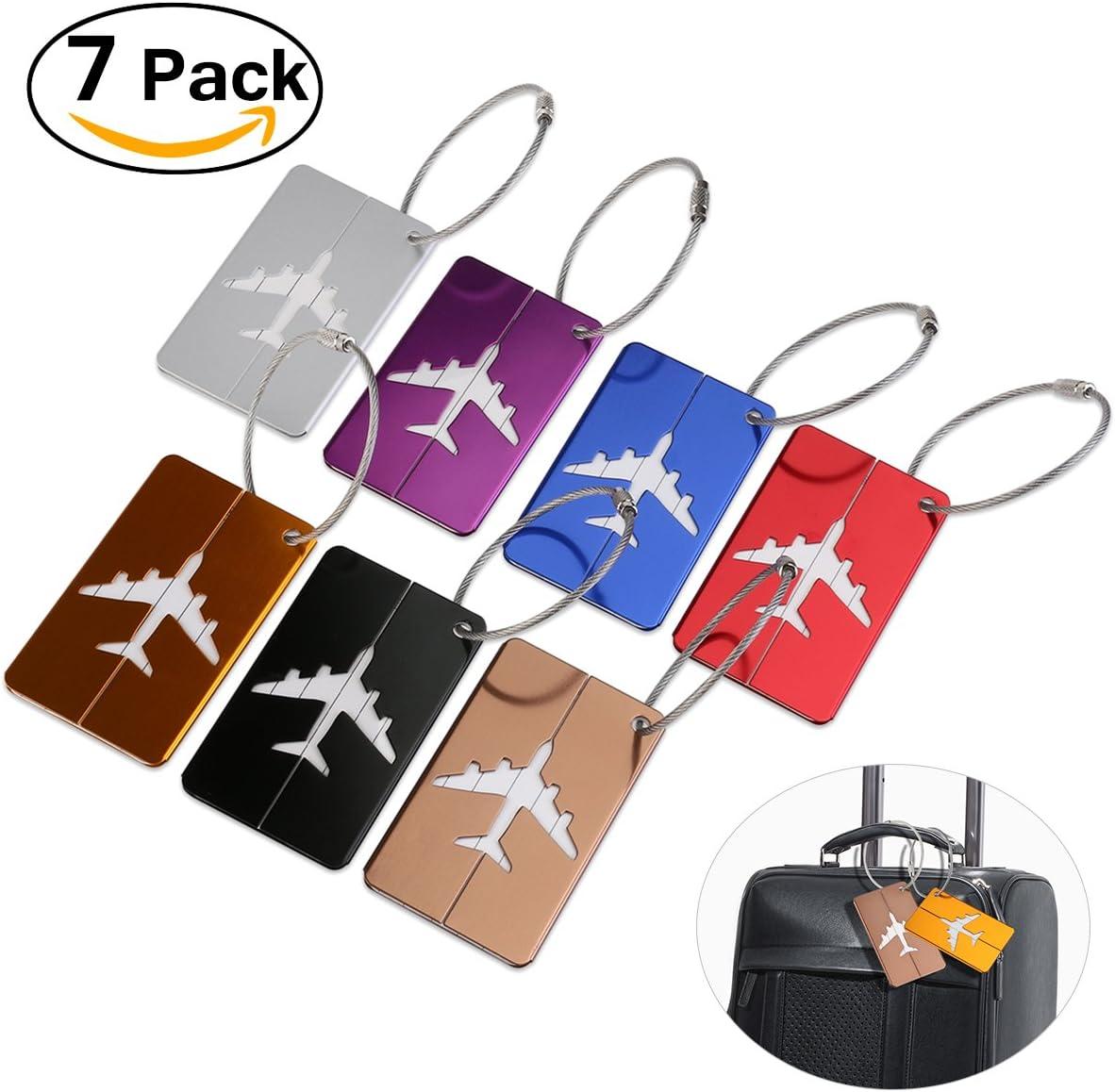 PIXNOR aluminium bagages bagages Tag Tags /étiquettes sac valise avec porte-cl/és Pack de 7