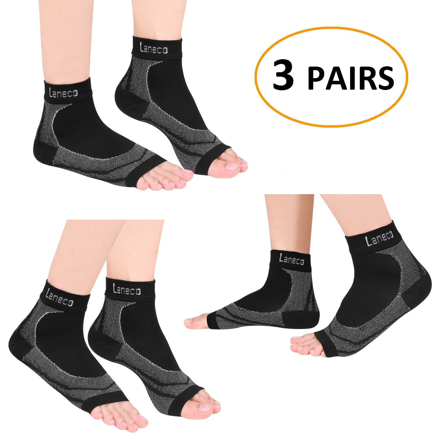 Laneco Plantar Fasciitis Socks (3 Pairs), Compression Foot Sleeves with Heel Arch & Ankle Support, Great Foot Care Compression Sleeve for Men & Women, Increase Blood Circulation, Relieve Arch Pain