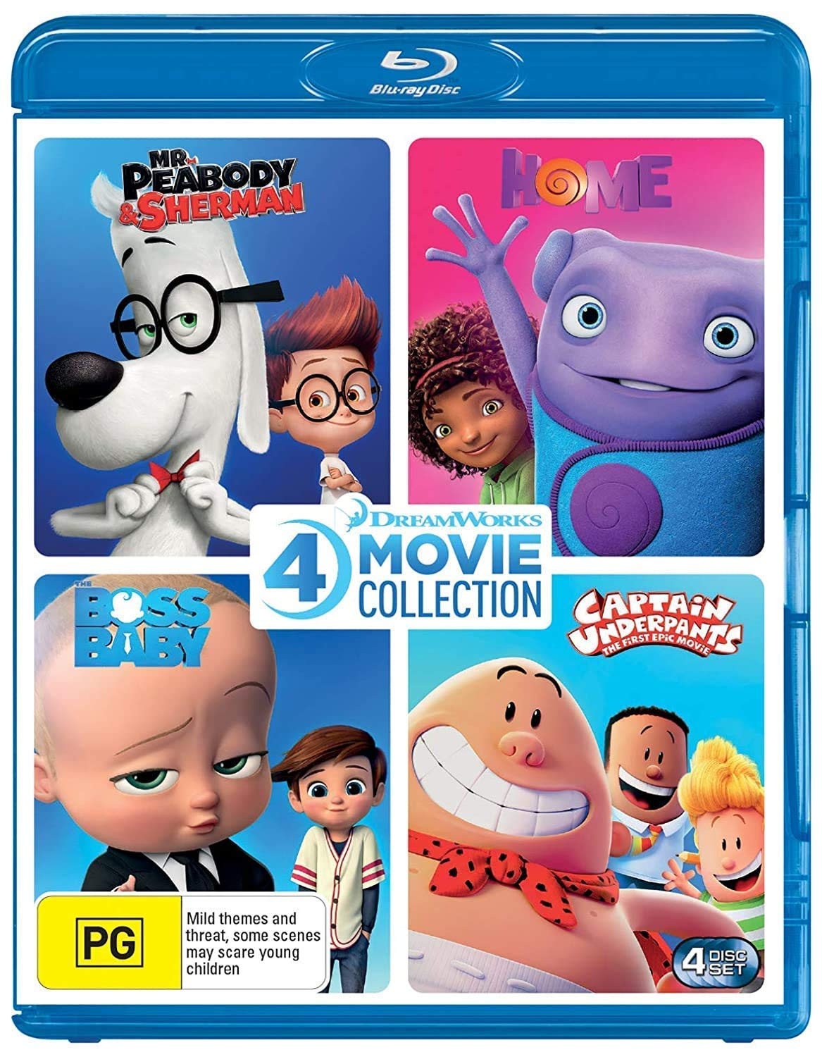 Dreamworks 4 Film Collection (Mr Peabody & Sherman/Home/Boss Baby/Captain Underpants)
