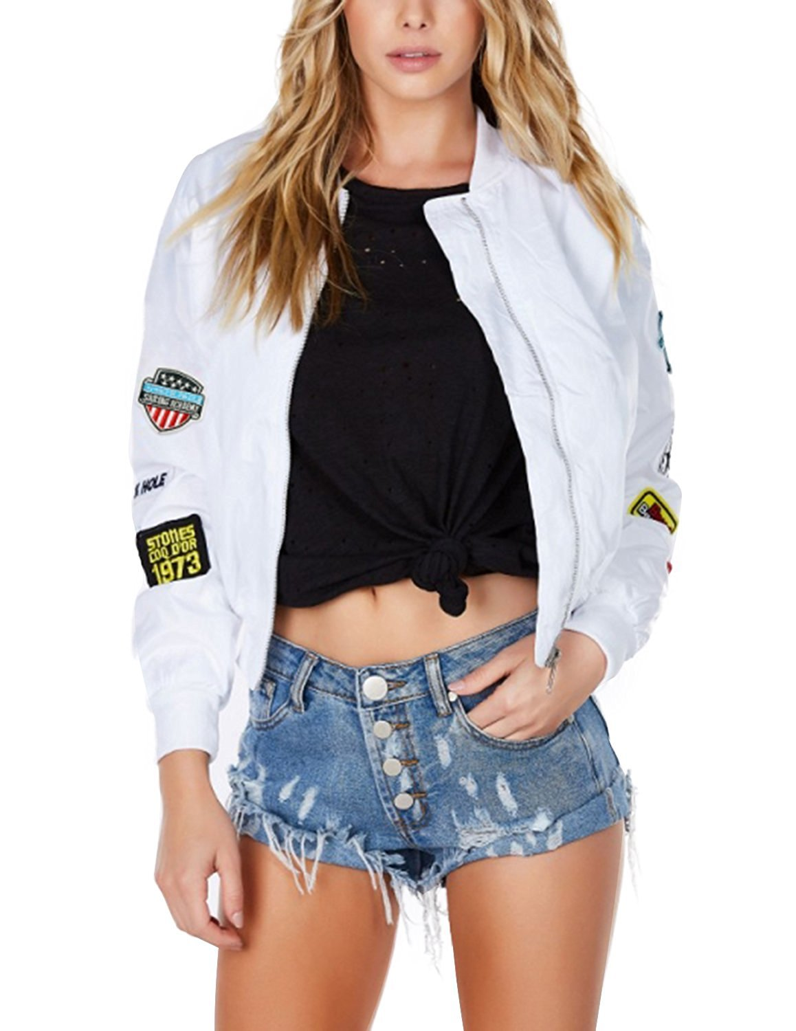 HaoDuoYi Womens Classic Cotton Blend Quilted Jacket Short Bomber Coat Jacket(XL,White)