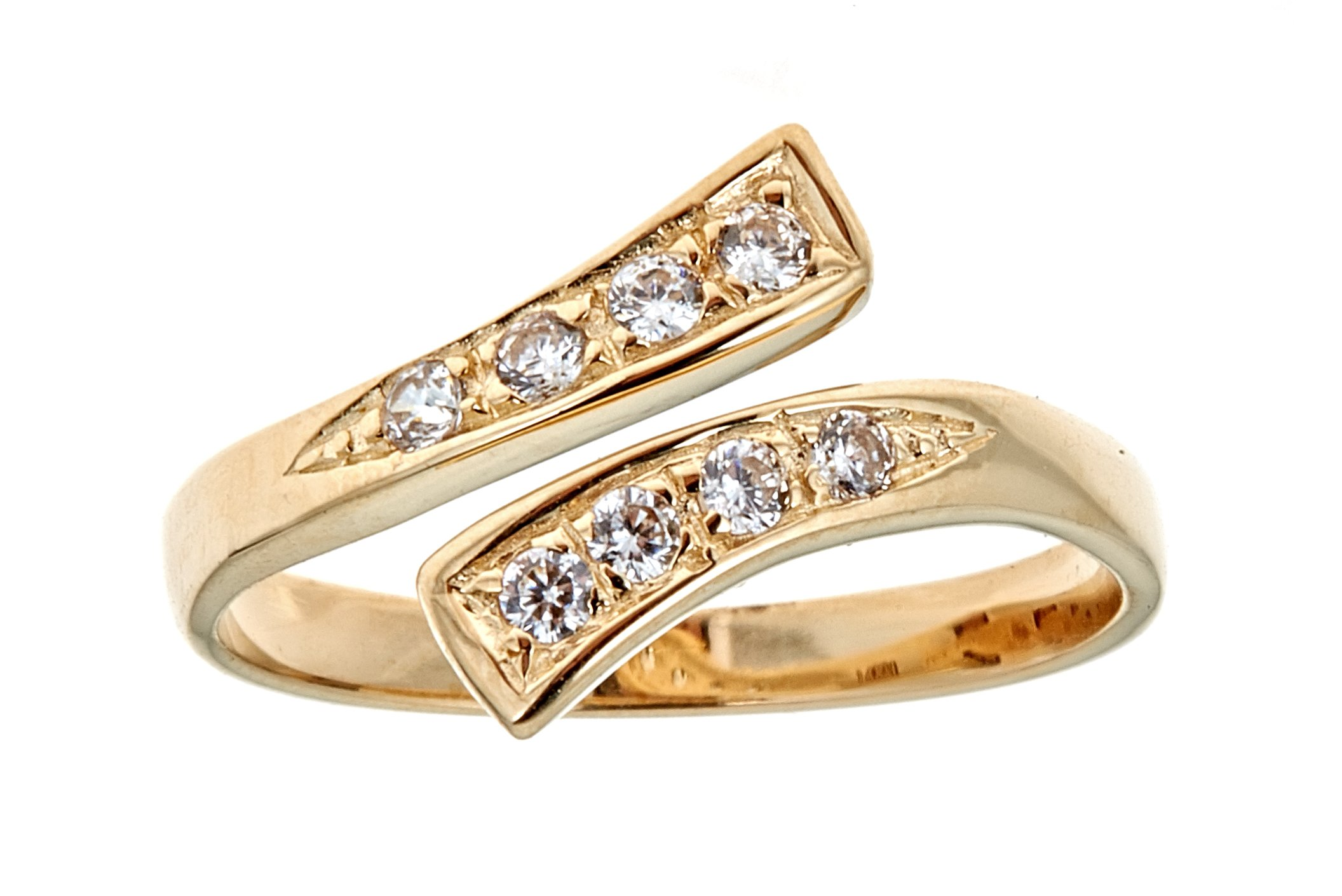 Ritastephens 14k Solid Yellow Gold Cubic Zirconia Crossover Toe Ring or Ring by Ritastephens