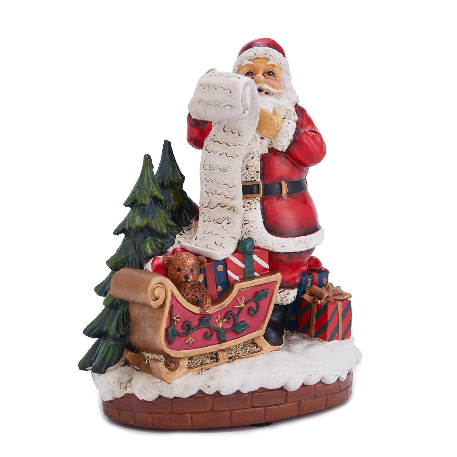 PoPo Kids 13 inch Christmas Santa Claus Holds a Tree for Centerpieces