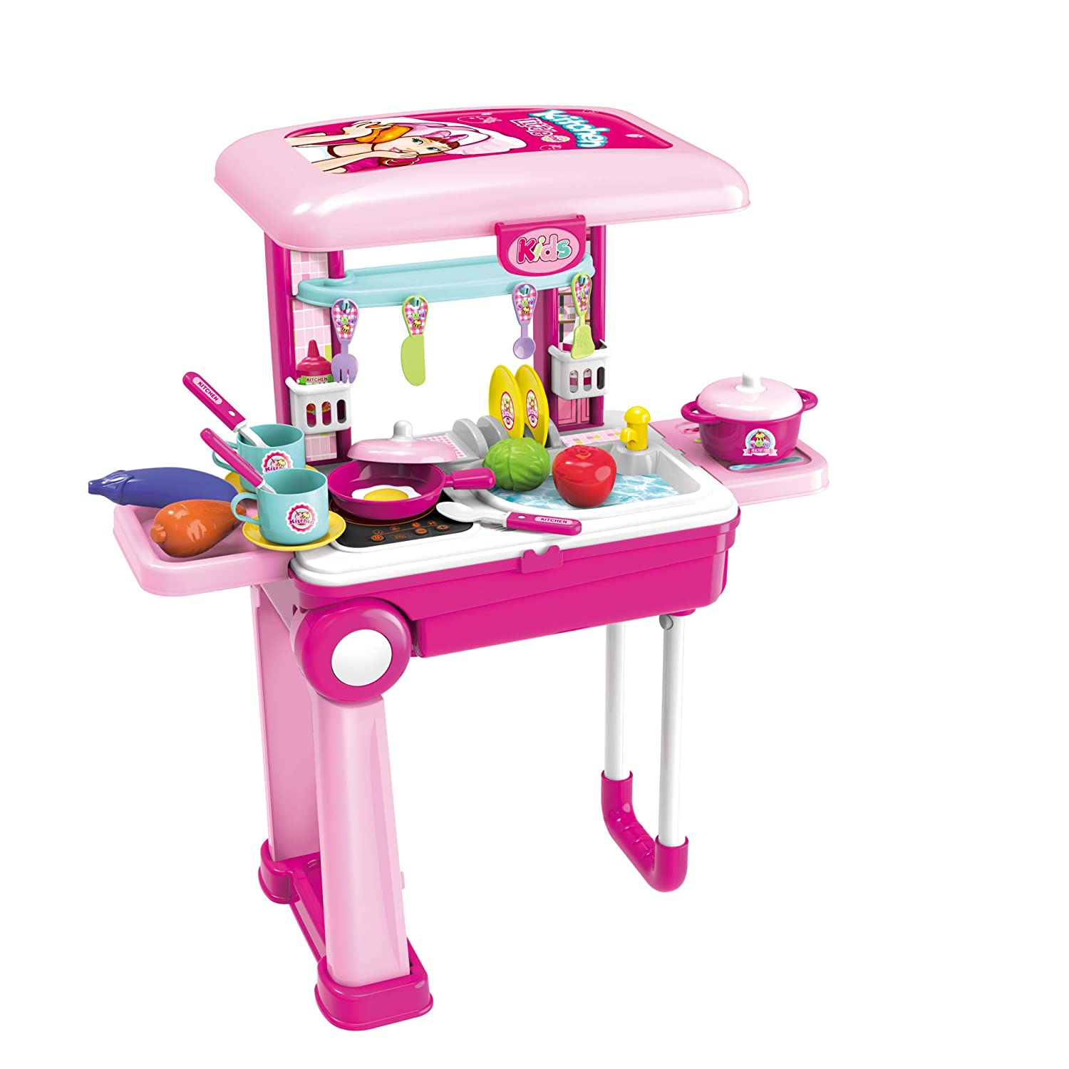 Toy Chef 2-in-1 Travel Suitcase Kitchen Set for Children   Includes Toy Pots, Pans, Dishes, Utensils & Foods ABS Plastic Pretend Play Kit for Boys & Girls   Great Gifting Idea Kitchen
