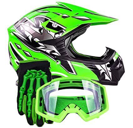 Youth Kids Offroad Gear Combo Helmet Gloves Goggles DOT Motocross ATV Dirt Bike MX Motorcycle Green